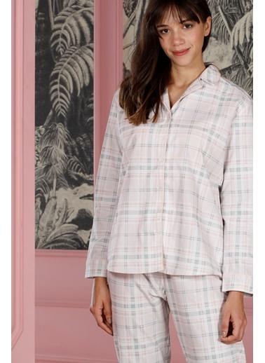 Hays Poet Kadın Gömlek Yaka Detaylı Alt Üst Dokuma 2Li Pijama Takımı Pembe